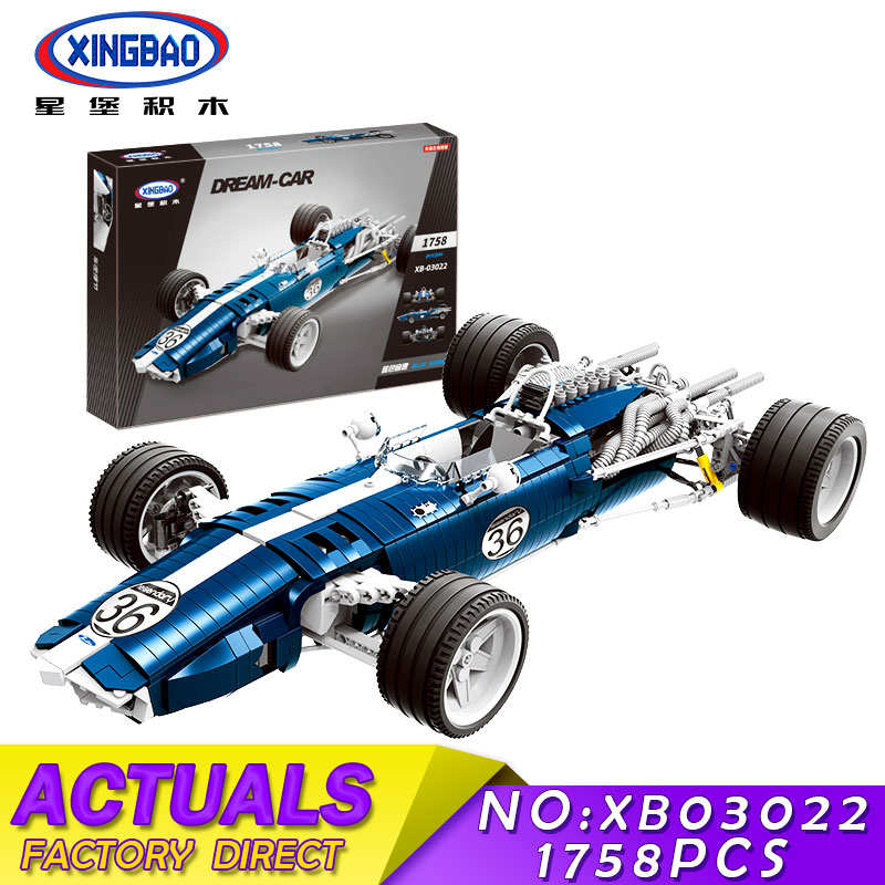 XINGBAO 03022 03023 Genuine The Blue Racing Car Set Building Blocks Bricks Educational Funny Toys As New Year Gifts For Kids