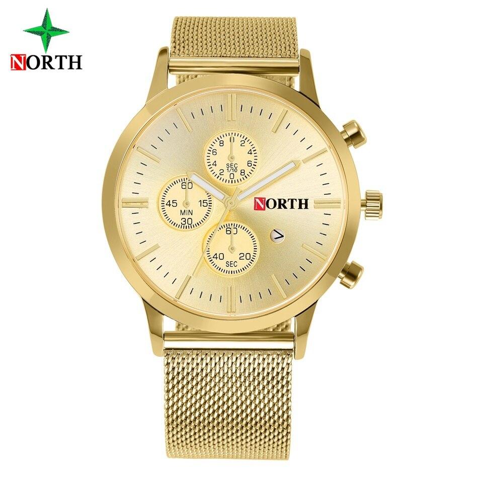 North Brand Mode Hommes Or Horloge De Mode De Luxe D'affaires Net En Acier Montre-Bracelet pour Hommes Robe Casual Étanche Montres 6032 IPG