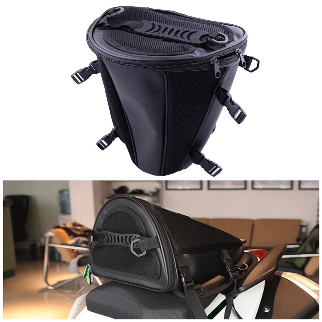 Dwcx черный микрофибры мотоцикл хвост мешок на заднем сиденье хранения Carry ручной плечо Водонепроницаемый бинты ремень сумка Держатели