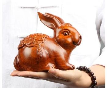 Solid wood black sandalwood Rosewood rabbit carved rosewood real wood animals set pieces pear wingceltis home decoration statue