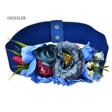 Bohemian Fabric Flower Waist Belt For Women 2018 Fashion Elastic Dress Belt Corset Girdle Female Floral