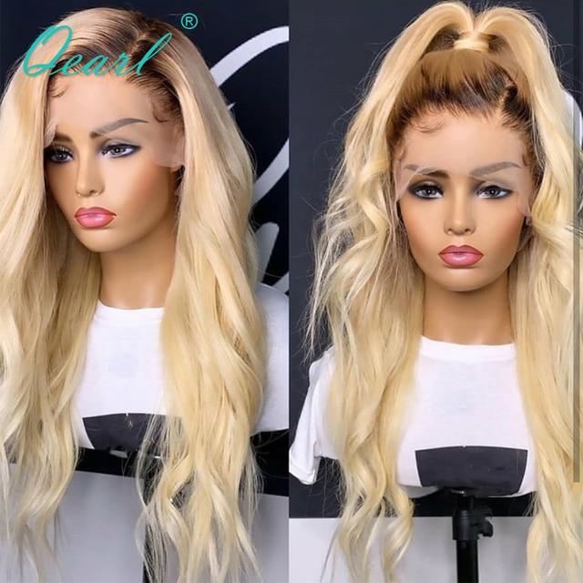 Ombre 4/613 blond peruka na koronce włosów ludzkich peruk z dzieckiem włosy włosy przedziałek z boku Pre oskubane faliste Remy włosy 130% 150% 180% gęstość qearl
