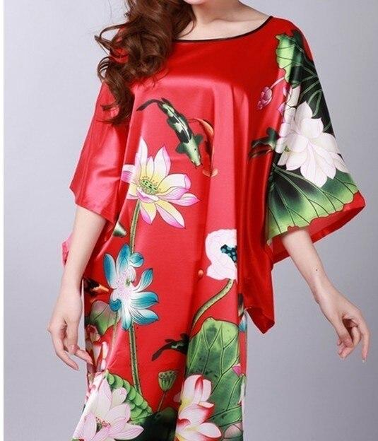 Red Women's Silk Bathrobe Sleepingwear Bathgown Flower Yukata Dress Kimono Gown One Size Wholesale Ratail