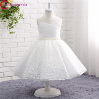 2018 New Flower Girl Dresses 2018 Beading Lace Girls Pageant Gown First Communion Dresses For Girls kids evening gowns