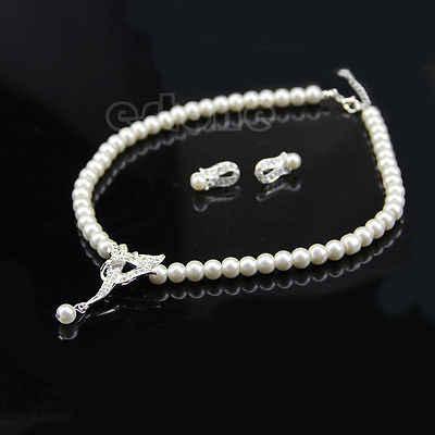 Luxury Wedding Bridal Rhinestone Crystal Faux Pearl Earring Necklace Jewelry Set