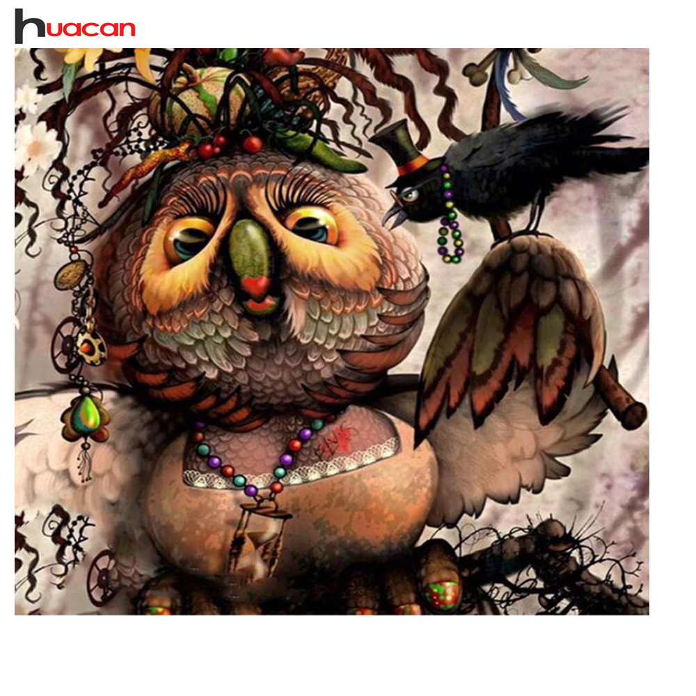 Huacan DIY Square DIamond Painting Cross Stitch Owl Pattern Full Drill Diamond Embroidery Wall Decor Amusing Hobby Chidren Gift