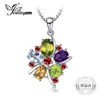 JewelryPalace Çiçek Renkli 3.1ct Doğal Ametist Garnet Peridot Citrine Mavi Topaz Kolye 925 Gümüş Takı