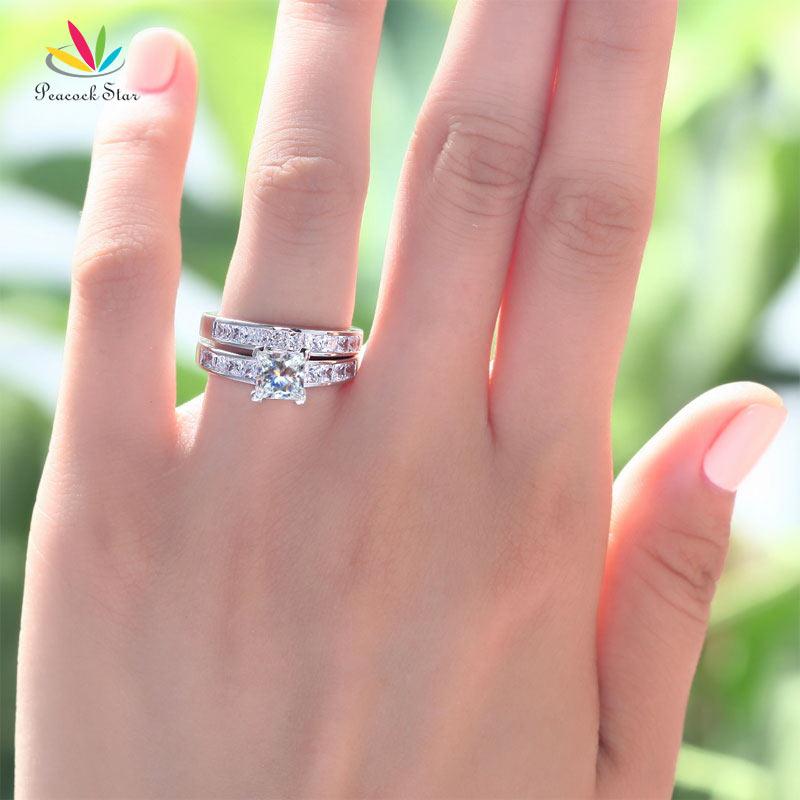 Image 2 - Peacock Star Solid 925 Sterling Silver 2 Pcs Wedding Engagement Ring Set 1 Ct Princess Cut Jewelry CFR8020-in Engagement Rings from Jewelry & Accessories