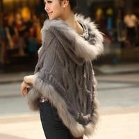 2019 thermal warm winter raccoon fur cape knitted real rabbit fur coat women female outwear