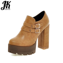 J&K 2017 Big Size 32-43 Women Pumps Buckle Spring High Heels Shoes Women Platform Pumps Thick Heel Solid Zip Fashion Shoes