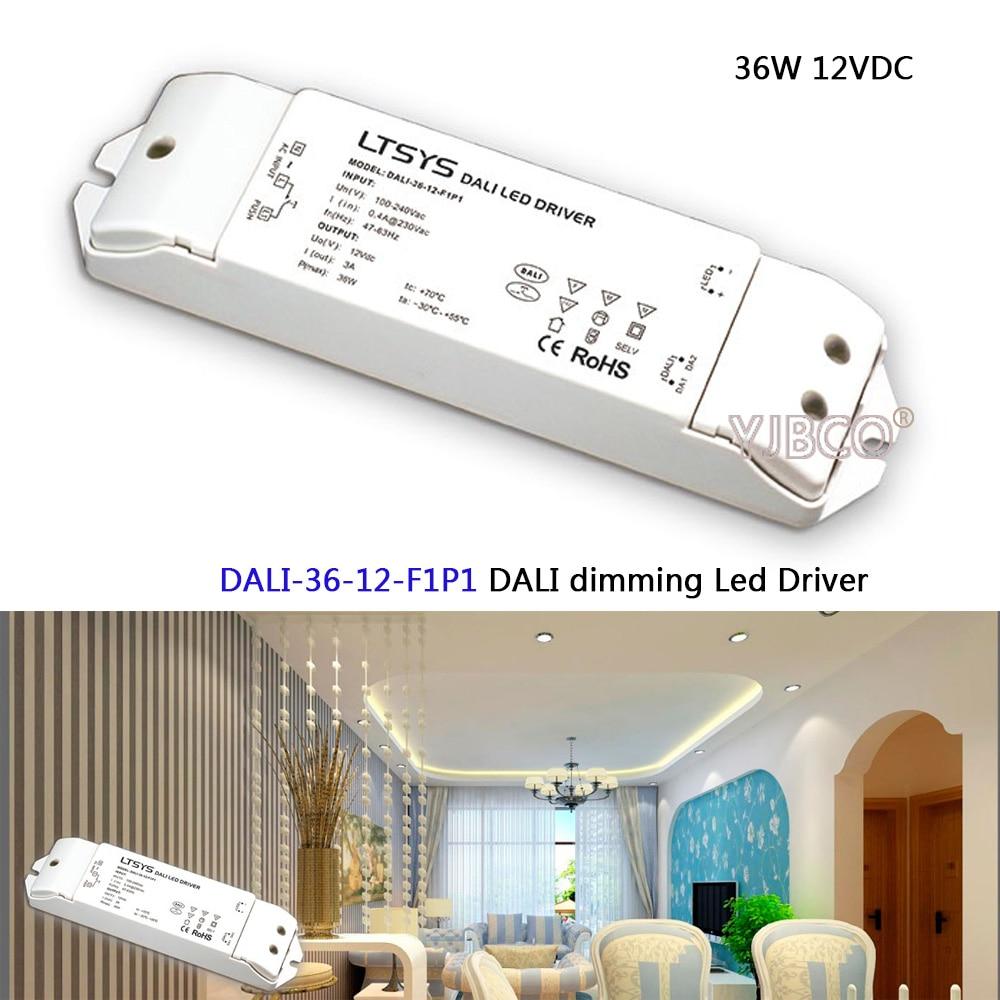 DALI Led Dimming Driver;DALI-36-12-F1P1;AC100-240V input;DC 12V/3A/36W output;DALI/PUSH DIM CV led power 10w 350 700ma cc dali led driver dali 10 350 700 f1p1 ac100 240v input dc3 24v output cc dali led dimming driver