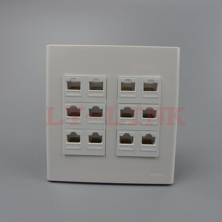 120 X 120mm face plate 12 Ports rj45 wall plate network wall plate support DIY