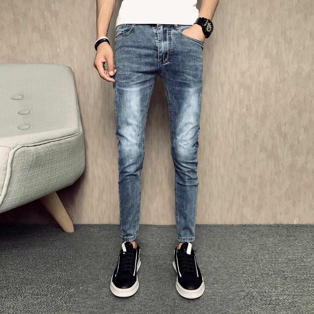 Summer Men Jeans Brand Designer Simple Slim Fit Denim Pants Men Ankle Length All Match Solid Hip Hop Skinny Jeans Men Clothing