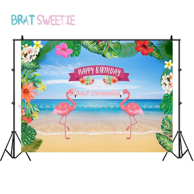 7x5ft Happy Birthday Backdrops Flamingo Hawaiian Party