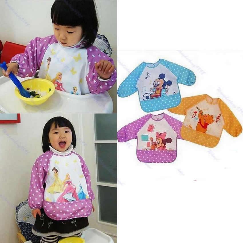 New Cute Children Baby Todder Waterproof Long Sleeve Art Smock Bib Apron 1pc