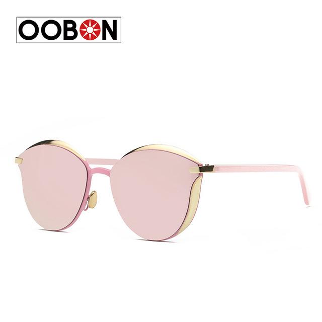 Oobon 2017 new cat eye sunglasses mulheres vintage moda subiu espelho de ouro óculos de sol planas únicas senhoras óculos de sol óculos uv400