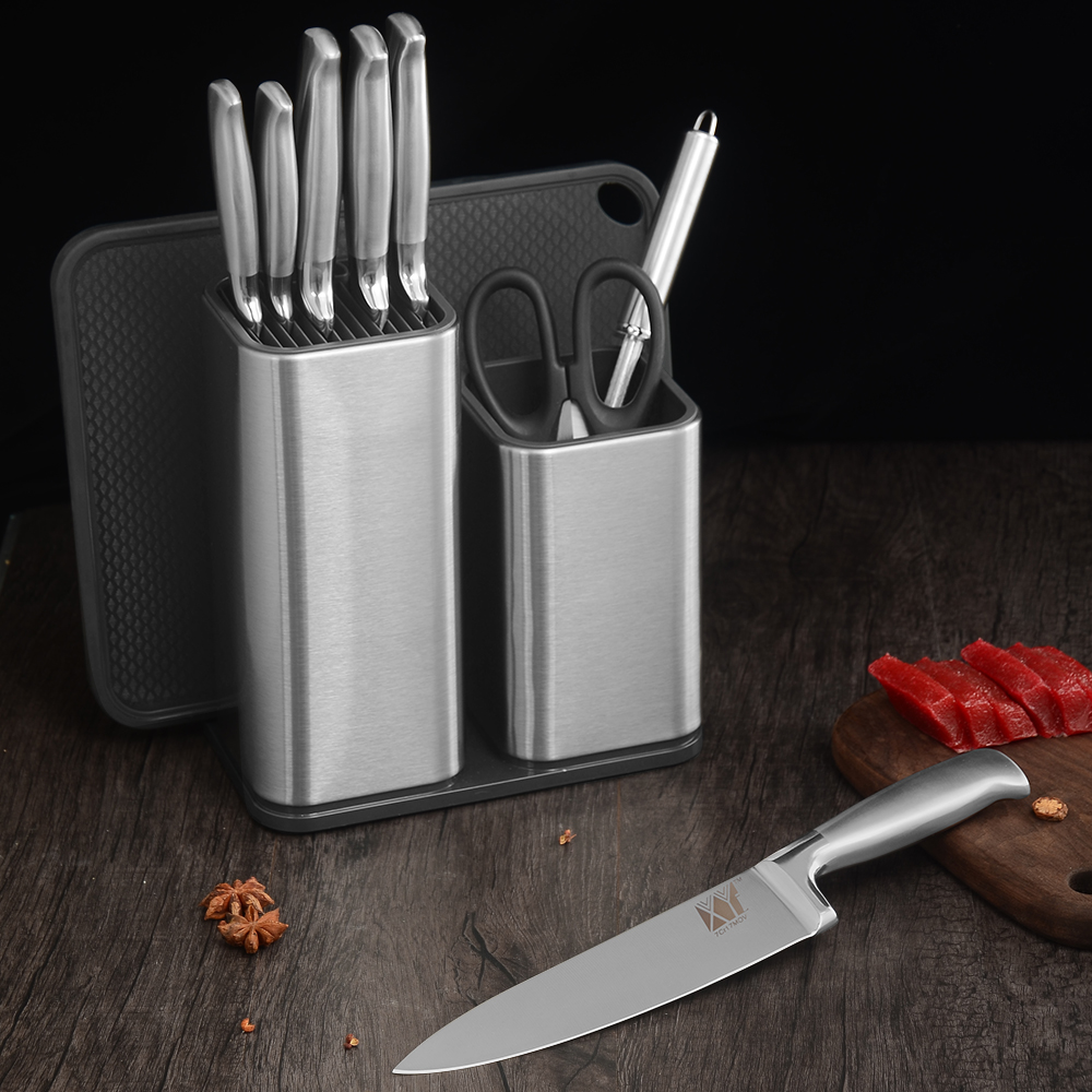 XYj Damascus Stainless Steel Ceramic Kitchen Knife Holder Stand Block Sharpener Rod Bar Cutting Board Scissors Accessories Tools