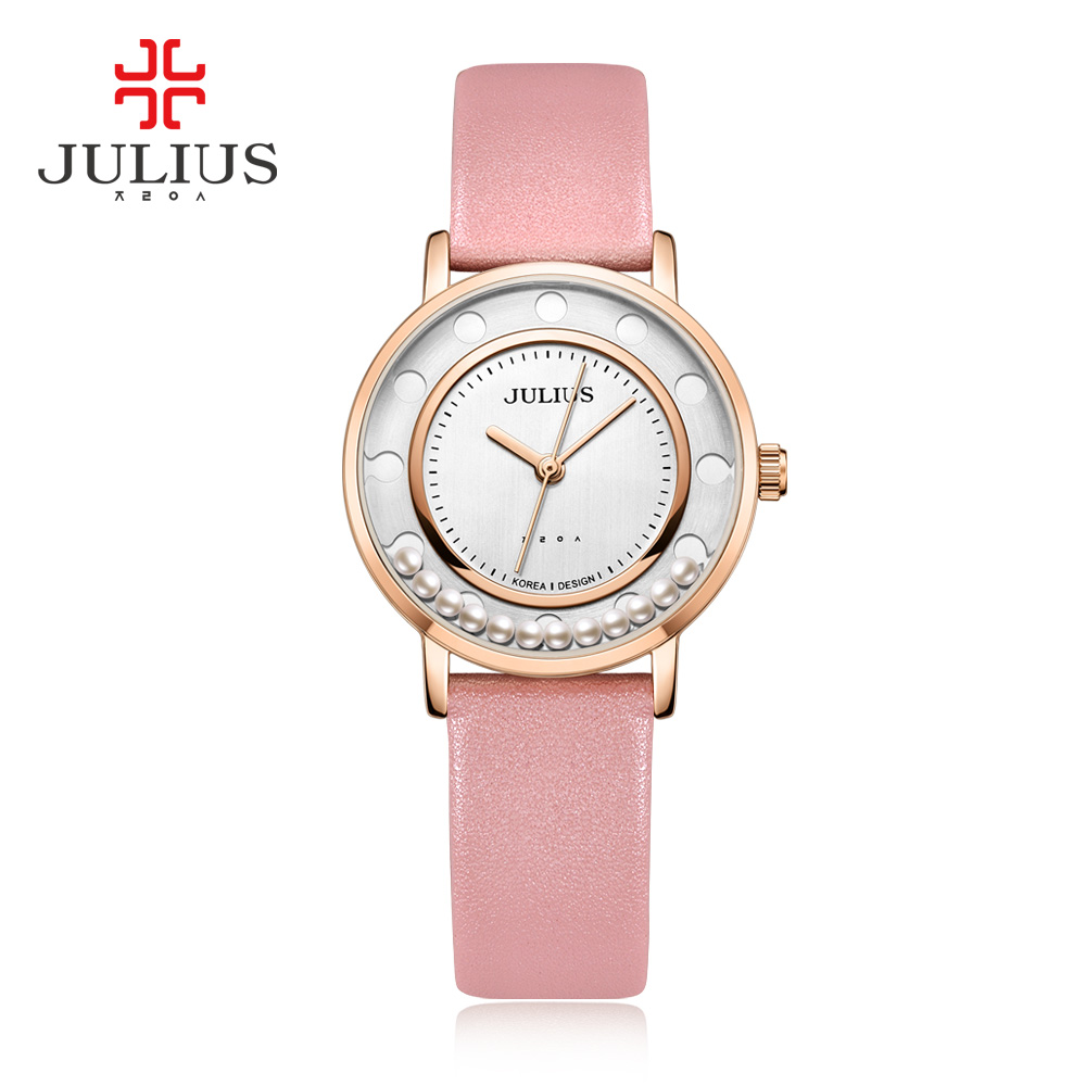 Julius Quartz Rose Gold Watches Women Girl Designer Rocking Beads Leather Watch Ladies Dress Simple Waterproof Wristwatch JA-927 top julius brand woman watch rose gold dress lady leather quartz watch girl watches clock creative barrel shape roman character