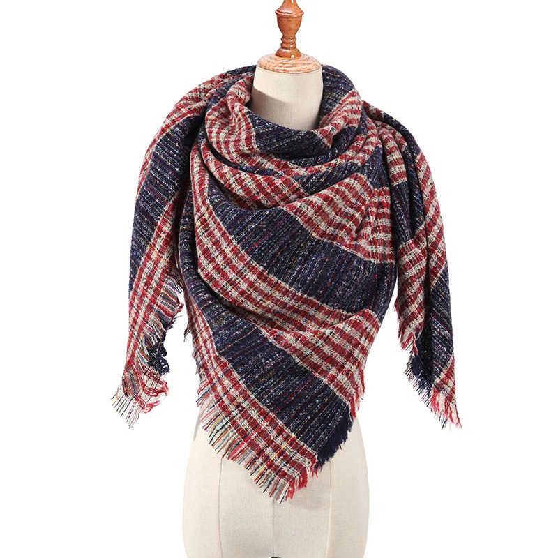 2019 nueva bufanda triangular de primavera e Invierno para mujer, bufandas de Cachemira a cuadros, chales para mujer, Pashmina, Bandana, manta