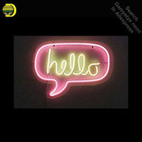 Neon Sign for Hello in Pink Yellow Neon Bulb sign Acrylic Panel BOARD handcraft Glass tube Dropshipping personalized neon lights