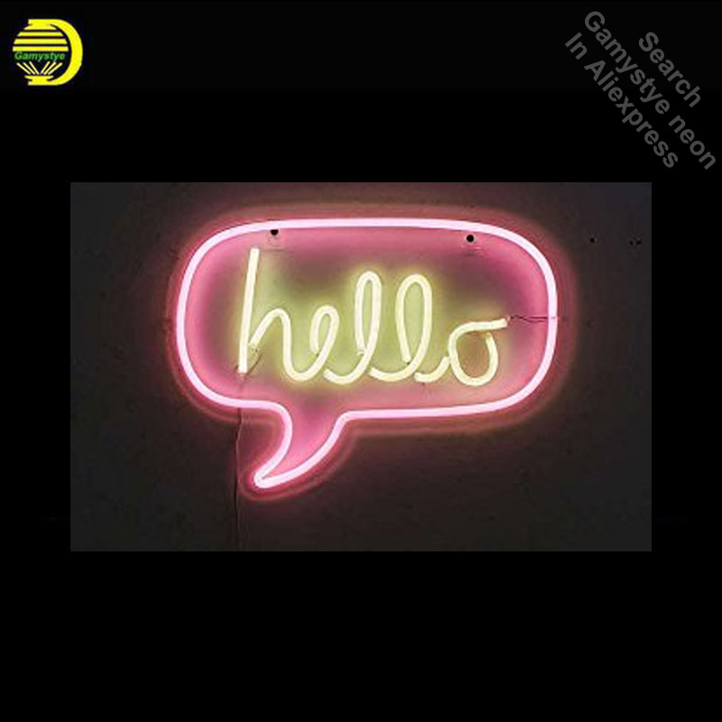 Neon Sign for Hello in Pink Yellow Neon Bulb sign Acrylic Panel BOARD handcraft Glass tube Dropshipping personalized neon lights nao for all we know neon yellow