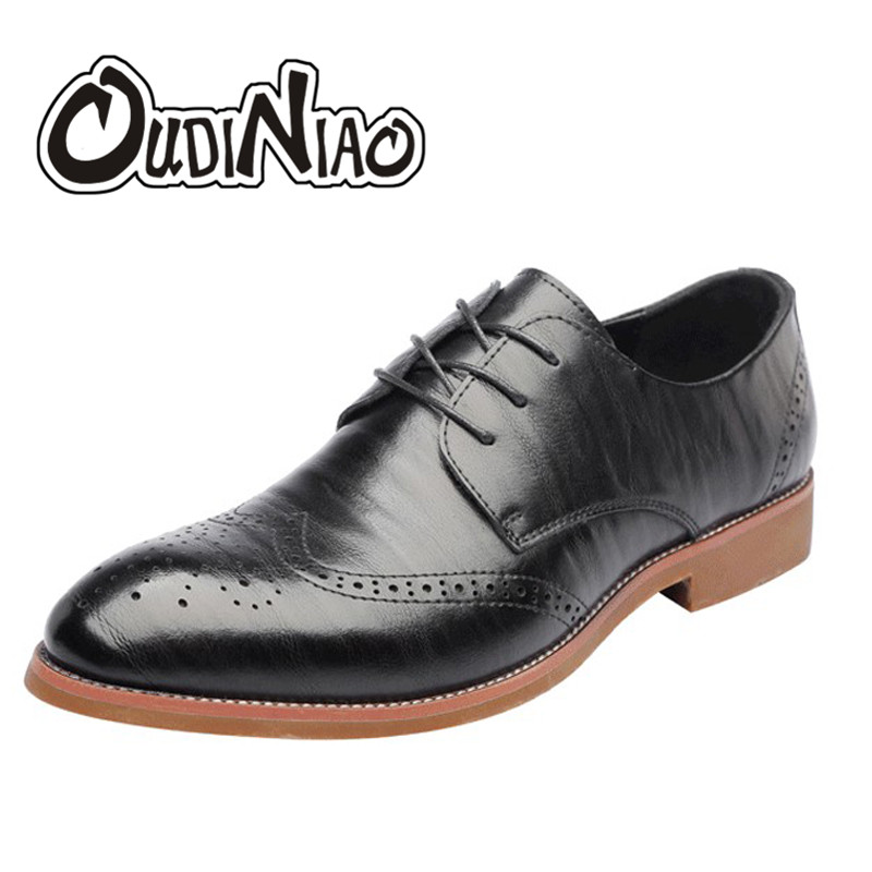 OUDINIAO Mens Split Leather Shoes Men's Pointed Toe Formal Casual Shoes Men Brogue Dress Mens Shoes Large Sizes Male Business