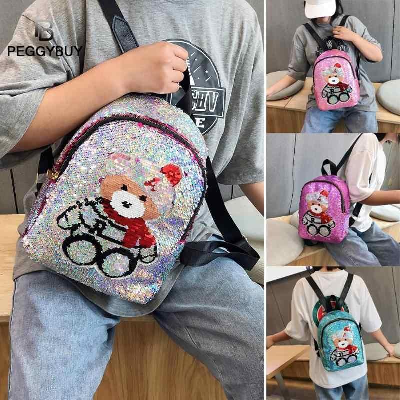 Lantejoulas bonito Padrão Urso Mochilas de Viagem Mulheres Glitter Pequenos Sacos de Escola