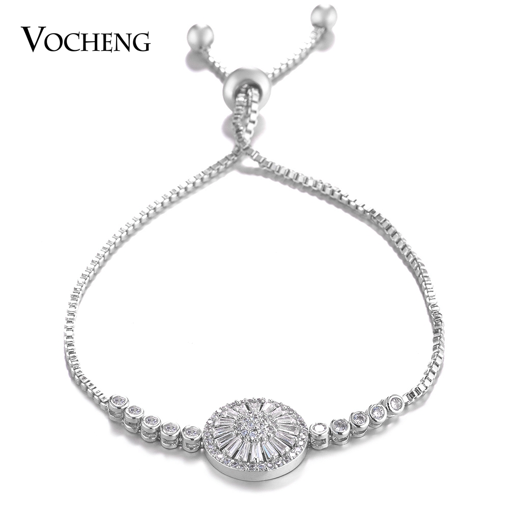 Wholesale 10pcs/lot Vocheng Adjustable Chain Bracelet Women Flower with Luxury Cubic Zirconia Copper Metal 2 Colors VG-109*10