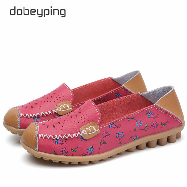 2017 New Women Casual Shoes Soft Real Leather Femal Flats Breathable Woman Loafers Leisure Boat Shoe Mocassins Driving Footwear