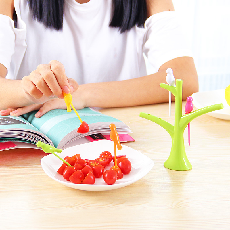 Bird Tree Fruit Fork Set 1 Tree Branches 6 Forks Party Snack Dessert Cake Fruit Toothpick Kitchen Gadgets Accessories