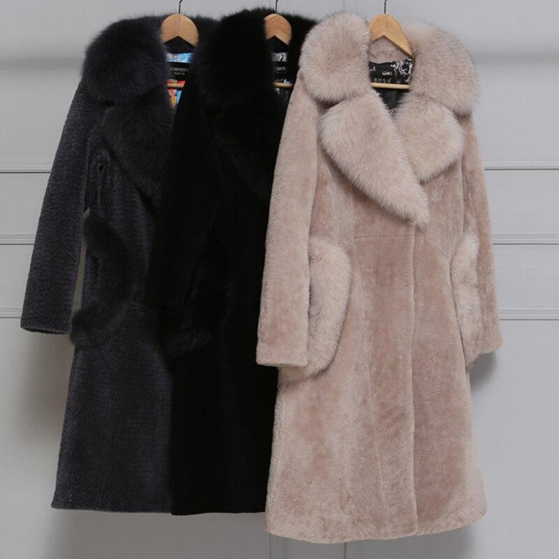 Haute Gray Section Pardessus Imitation khaki Marque Survêtement Femmes black Qualité D'hiver Col Fourrure Fluffy Renard De Longue Fausse Manteau pink Chaud Casual UwwtqfzZ