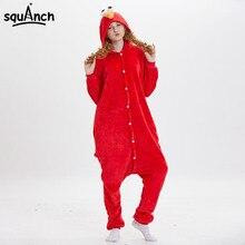 b187b4ed22de Cookie Monster Elmo Kigurumi Onesie Anime Sesame ST Character Pajama Blue  Red Funny Cute Sleepwear Women