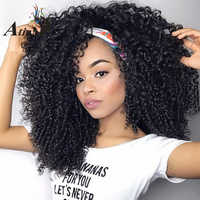 Afro Kinky Curly 250% Density Lace Front Human Hair Wigs Baby Hair Brazilian Curly Lace Front Pre Plucked Wig Virgin Remy Hair