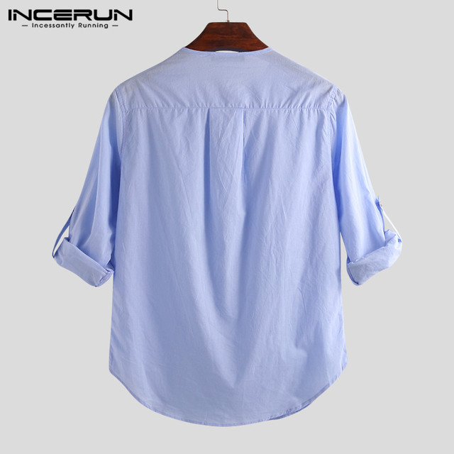 INCERUN Fashion Men Shirt Long Sleeve Cotton Solid Casual Basic Shirt Men Tops Leisure Fitness Pullovers Camisa Plus Size 2019 5
