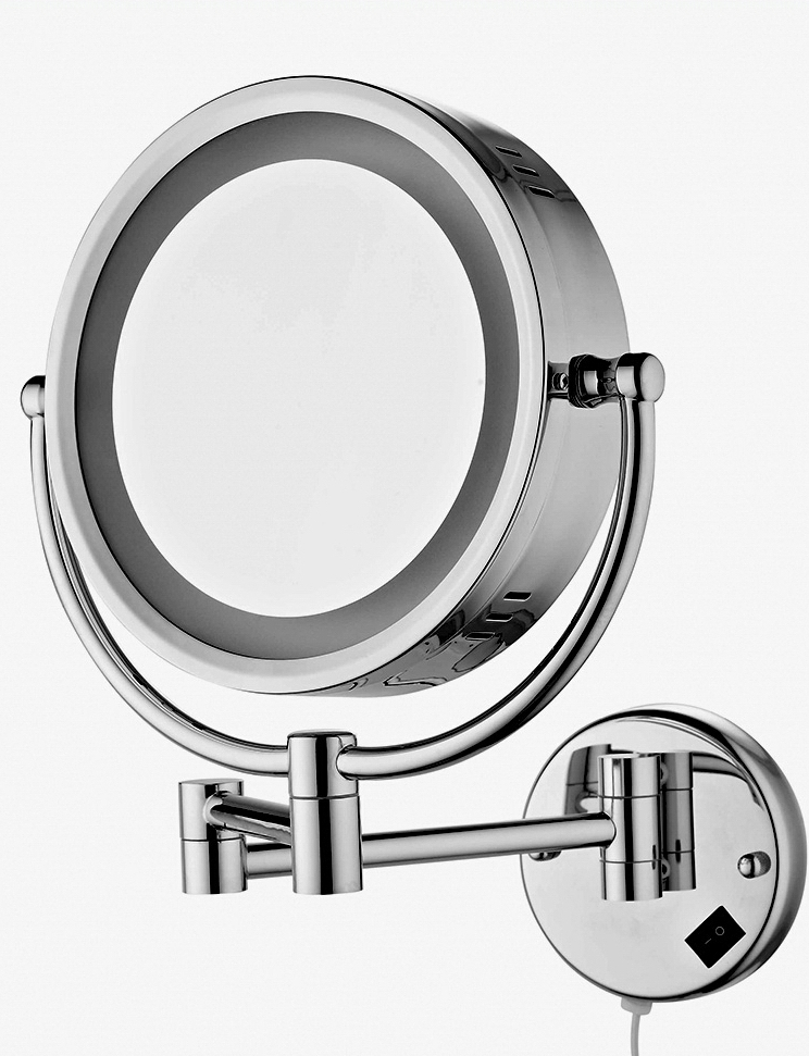Free Shipping 9Wall Mounted Round 3x / 1x Magnifying Bathroom Mirror LED Makeup Cosmetic Mirror lady's private mirror BM003 large 8 inch fashion high definition desktop makeup mirror 2 face metal bathroom mirror 3x magnifying round pin 360 rotating