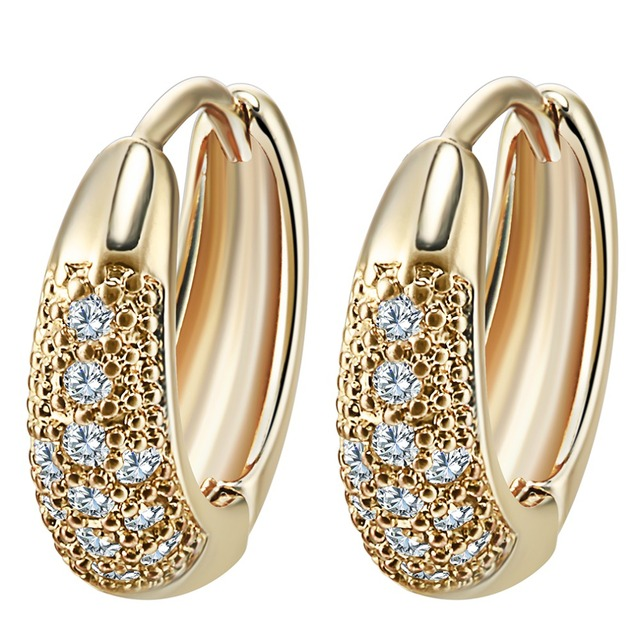 Qiamni Gold Unique Design Wedding Earrings Filled Inlay Round Clear Cubic Zirconia Small Hoop For