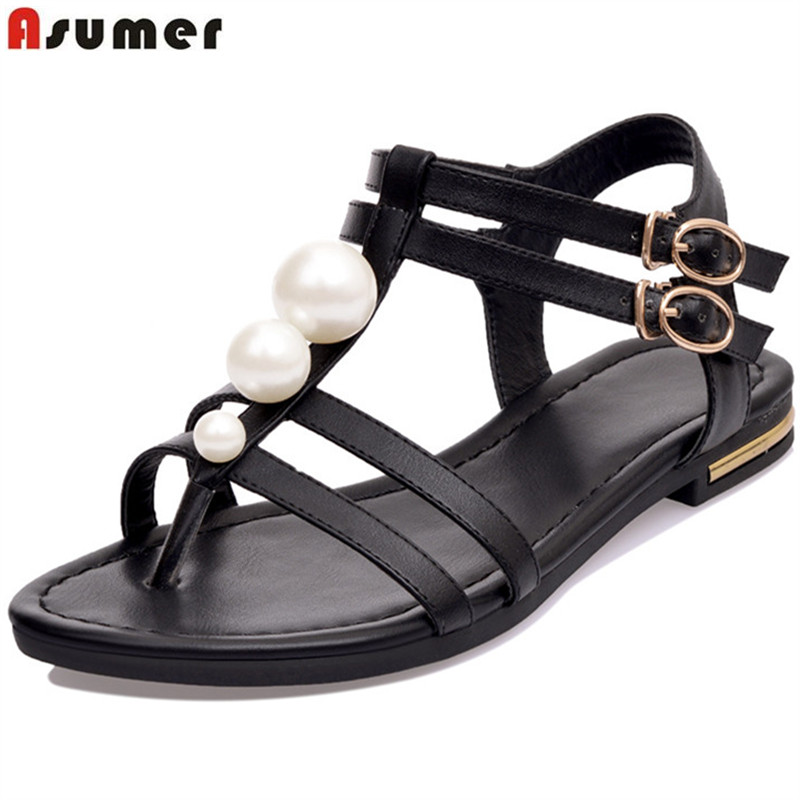 Asumer 2017 hot sale new arrive women sandals fashion T-strap buckle summer shoes  comfortable solid colors lady shoes