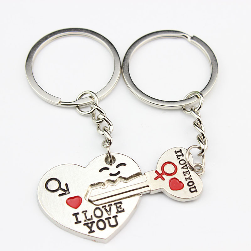 "Romantic Gift For Her Him /""I Love You/"" Keyring Heart Key Lover Couple  UK POST"