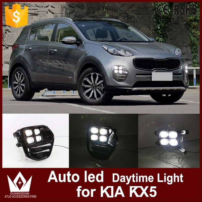 Tcart Auto Voiture led Feux de jour Pour Kia KX5 2016 2017 blanc couleur DRL Étanche conduite Brouillard lampe de voiture style