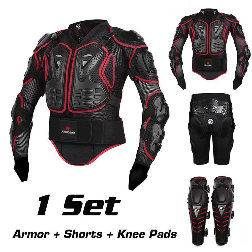 Motorcycle Motocross Off-Road Racing Full Body Protective Gear Back Support Protector Armor Jacket + Hip Pads Shorts + Knee Pads herobiker black motorcycle racing body armor protective jacket gears short pants motorcycle knee protector moto gloves