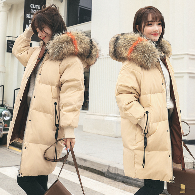 2018 Winter Jacket Women Real Raccoon Fur Collar White Duck Down Long Parkas Coat Female Hooded Snow Outwear Maternity Clothings winter long maternity hooded jacket pregnancy coat jacket fur collar side pocket drawstring coat for pregant woman snow outwear