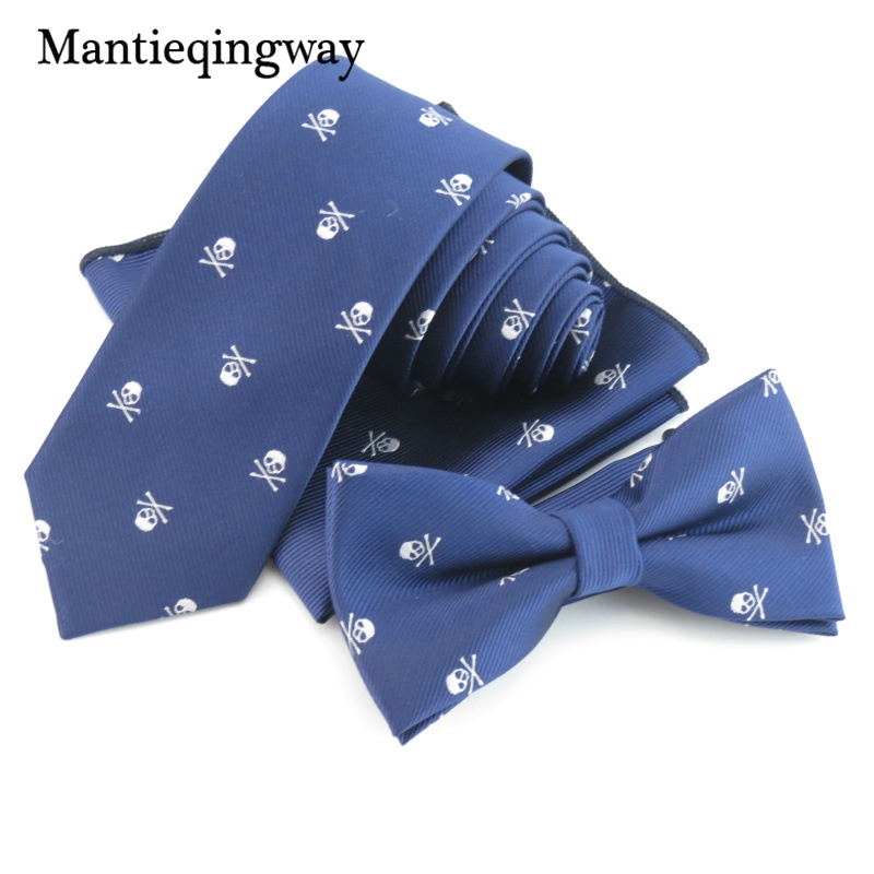 Mantieqingway 6cm Fashion Bow Tie Hanky Set Classic Skull Skinny Ties for Mens Neckties Bowtie Handkerchief Sets Noeud Papillon