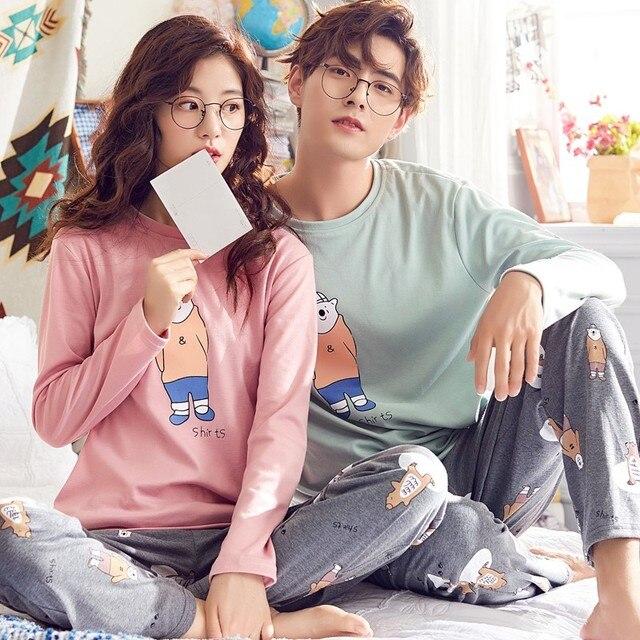 Couple's pajamas Autumn Cotton Long-sleeve Clothing Pyjamas Women Sleepwear Pajama Set