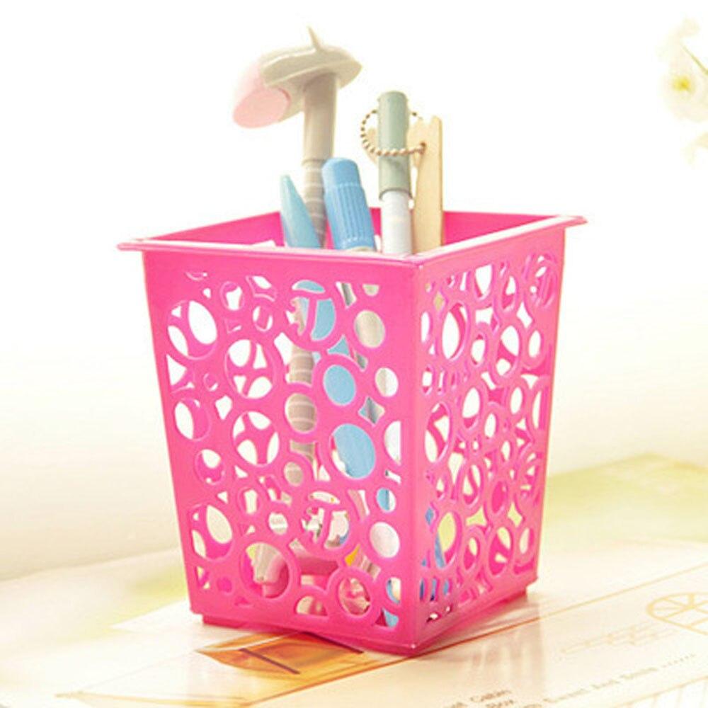 Plastic Pen Storage Box Makeup Brush Sundries Holder Organizer Deas Vase Pot Home Organization Stationery F930