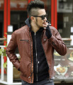 2016 Hot Sale Fashion Men's Leather pu Jacket Men's Casual quality brand motorcycle leather jackets men coat