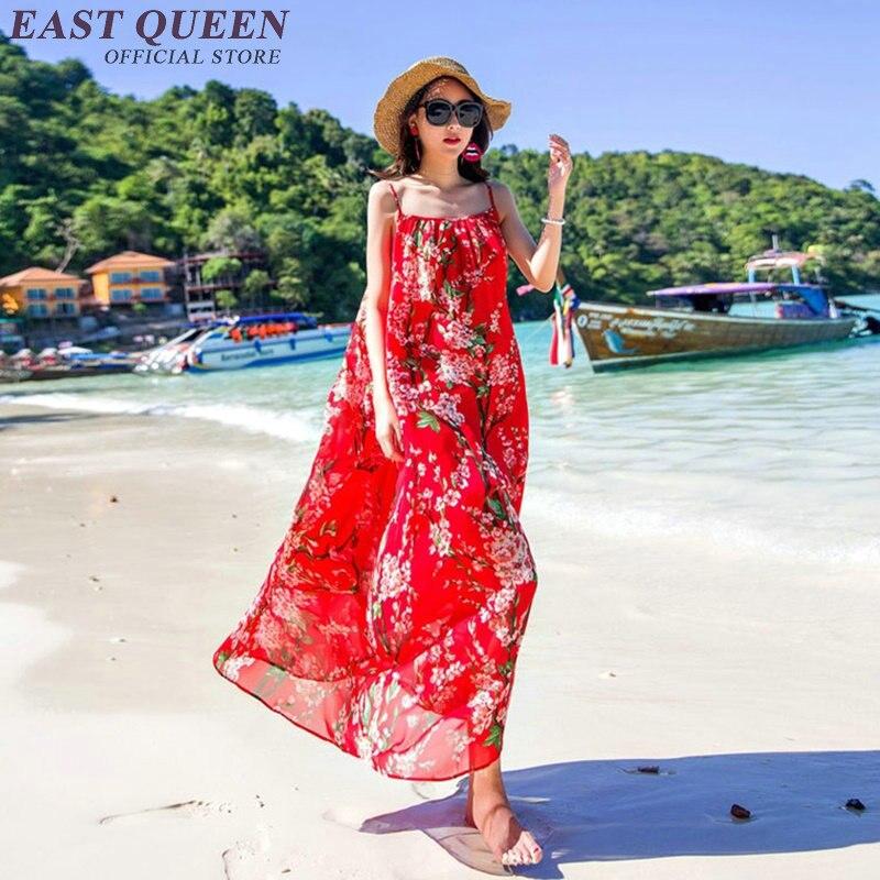 Donna della spiaggia di estate lungo prendisole estate femminile di estate spiaggia floreale prendisole KK248-in Abiti da Abbigliamento da donna su  Gruppo 1