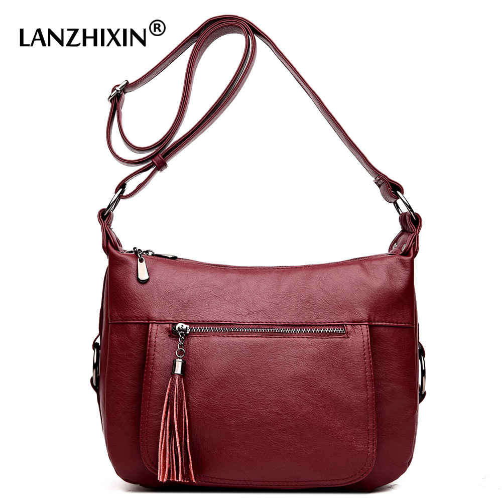 Lanzhixin women messenger bags ladies crossbody bags european and american style soft zipper tassel vintage retro tote bags 993S jiasna new women handbags soft pu ladies crossbody bags baobao european and american style versatile bags design fashion