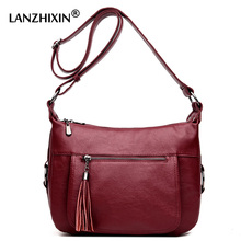 Lanzhixin women messenger bags ladies crossbody bags european and american style soft zipper tassel vintage retro tote bags 993S