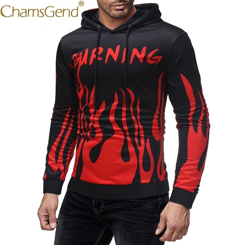 Drop Shipping Men Sweatshirts Red Fire Printing Teenager Streetwear Men Pullover Hoodies Sweatshirts 80925