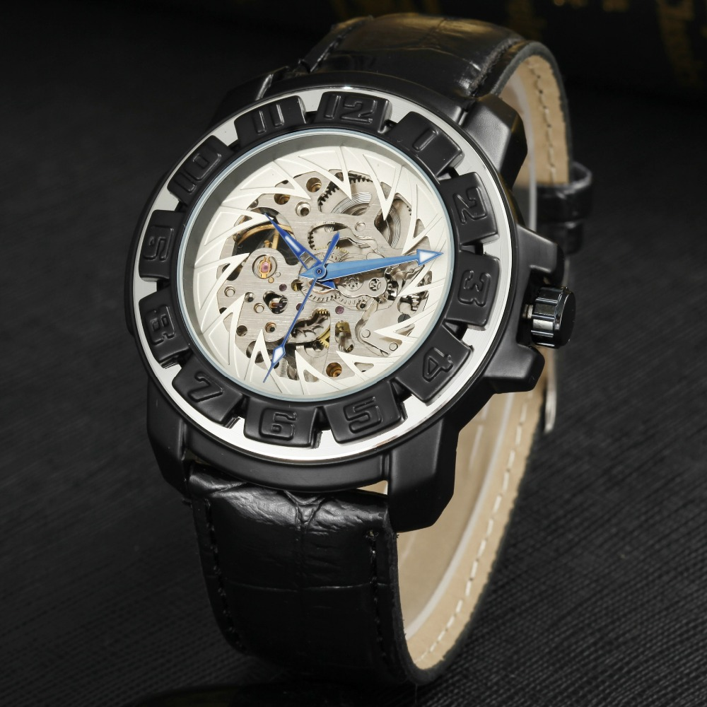 GOER brand Skeleton man automatic watch Leather mechanical waterproof Luminous digital Male wrist watch